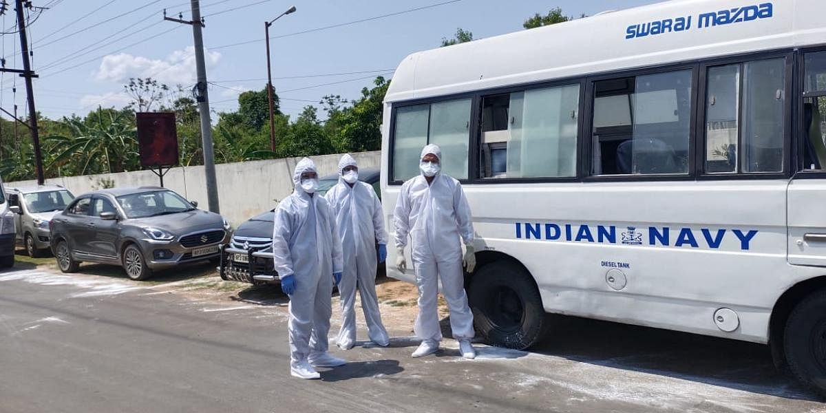 A naval team with about 50 Breathing Sets and associated portable Air Compressor along with two naval ambulances are assisting the SDRF team at villages affected by gas leak near LG Polymers