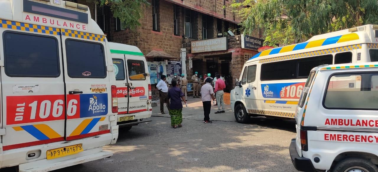 A row of ambulances stand outside the King George Hospital amid the gas leak at LG Polymers plant near Visakhapatnam