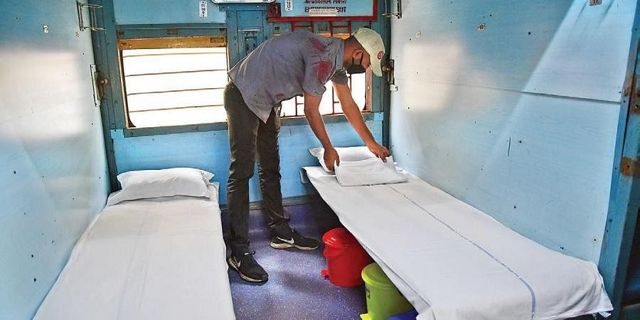 Railway coaches being turned into isolation wards.