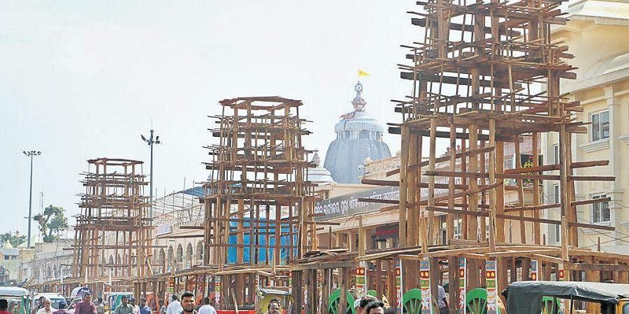 Construction of chariots underway in full swing for the annual Rath Yatra in Puri on Friday