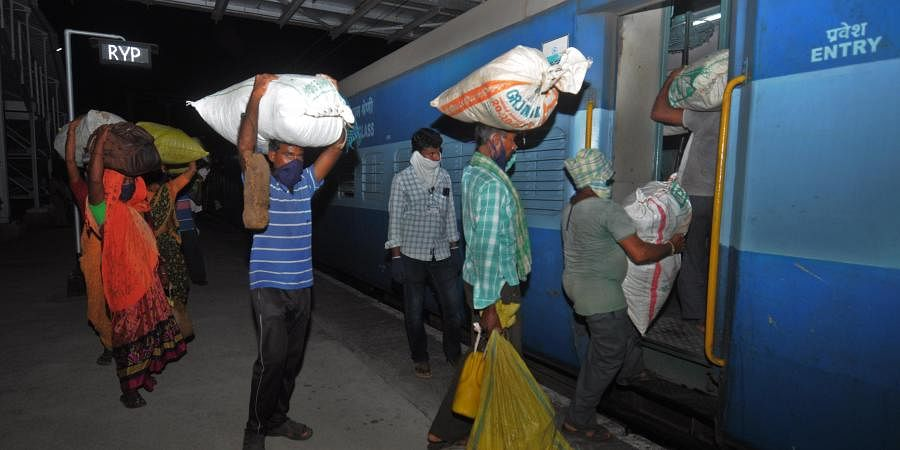 Agriculture migrants from Maharashtra working in AP board the second Shramik train carrying 1004 passengers that left from Rayanapadu railway station Vijayawada rural mandal on the late hours of Tuesday 1 am.