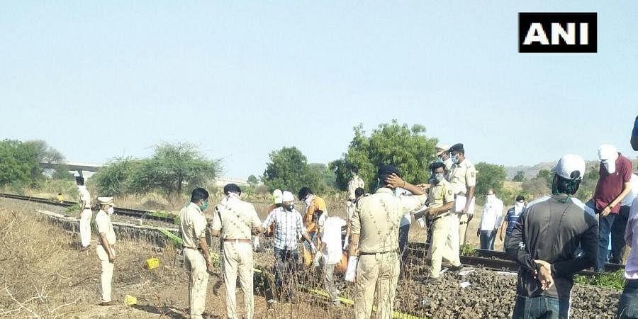 Aurangabad train accident site.