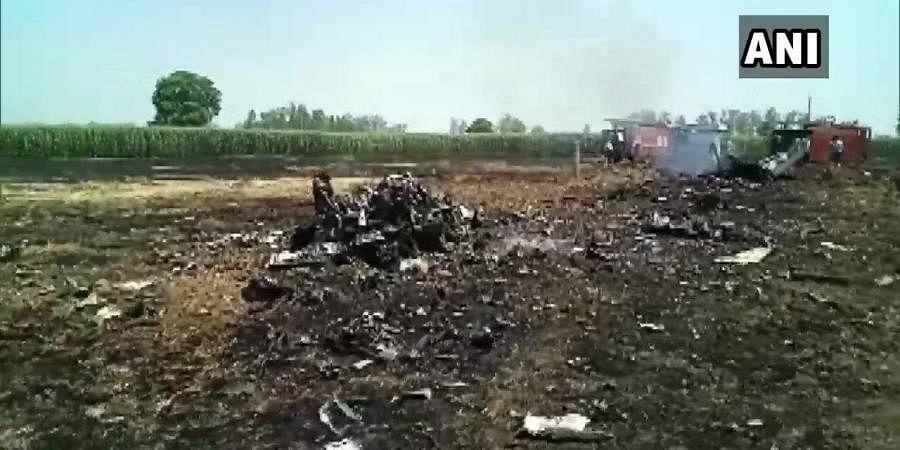 Remains of crashed Mig-29 aircraft near Jalandhar.
