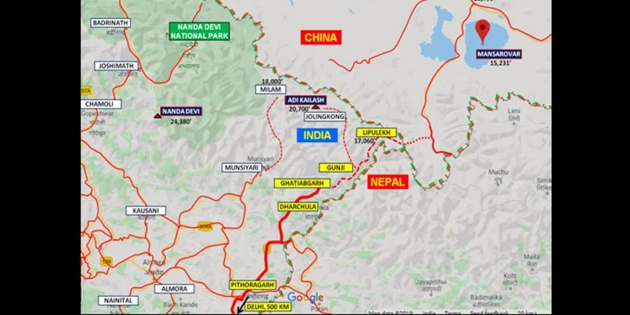 A  map of the new route to Kailash Mansarovar from Pithoragarh