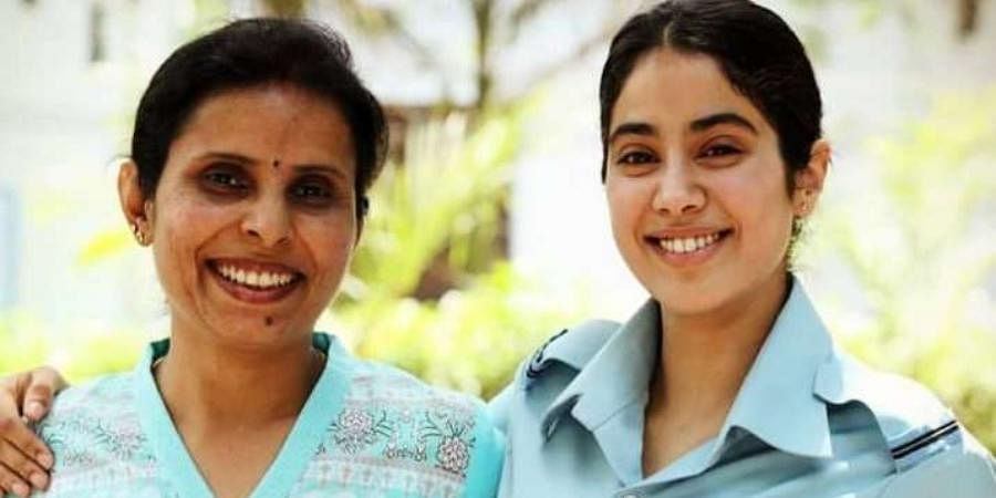 Bollywood actress Janhvi Kapoor with Indian Air Force pilot Gunjan Saxena.