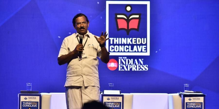 K Pandiarajan, TN Minister for Tamil Language, Culture and Archaeology, speaking at the Think Edu Conclave 2020.