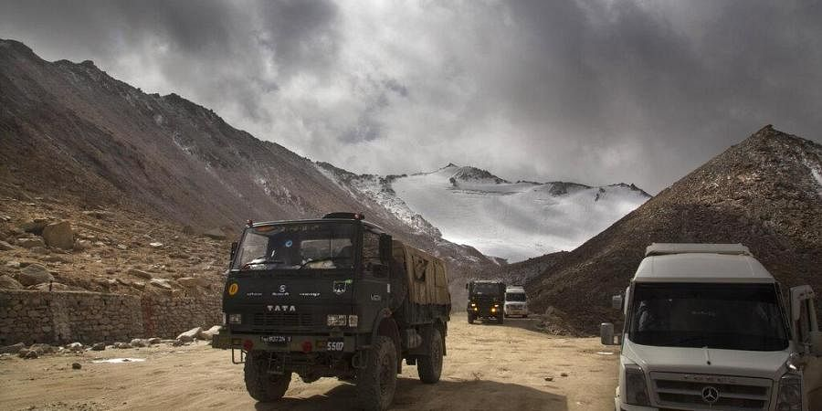 (File) Indian Army truck crosses Chang la pass near Pangong Lake in Ladakh region, (Photo | AP)