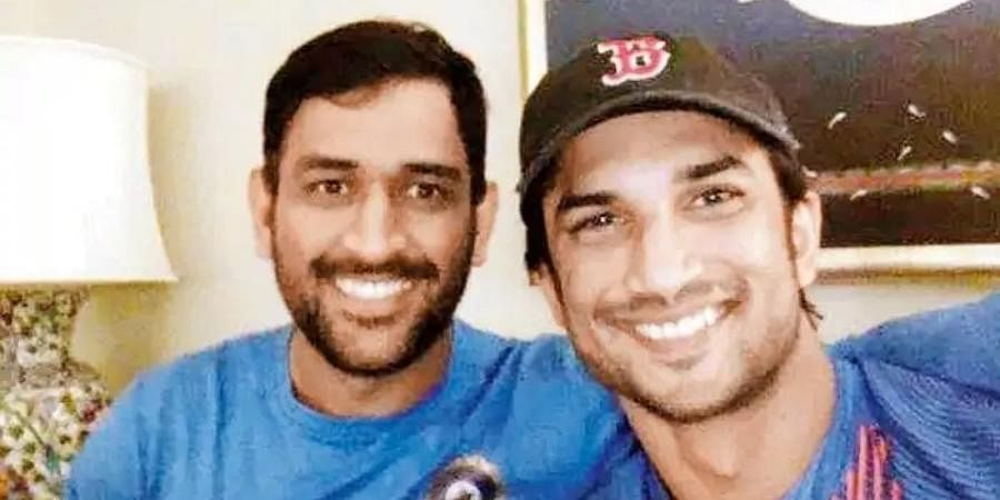 Former Indian skipper MS Dhoni (L) with Bollywood actor Sushant Singh Rajput