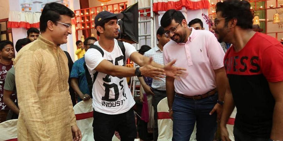 Sushant Singh Rajput with former Indian skipper Sourav Ganguly and Bengali film director Raj Chakroborty.