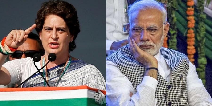 Congress general secretary Priyanka Gandhi (L) and PM Narendra Modi