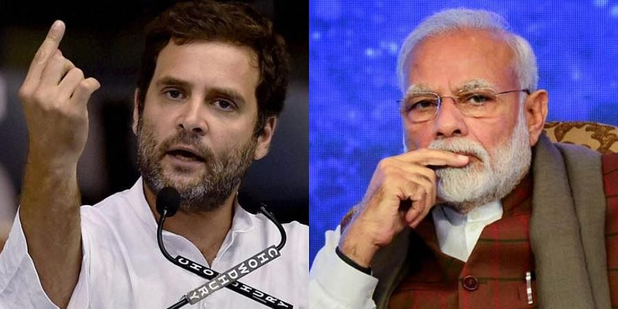 Congress MP Rahul Gandhi (L) and PM Narendra Modi