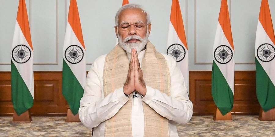 Narendra Modi folds his hands in solidarity for the sacrifices of soldiers along the border with China.