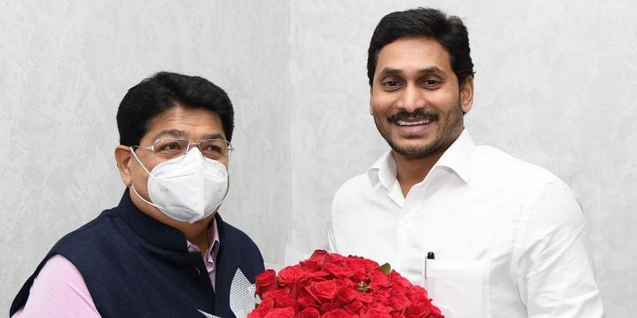 Parimal Nathwani meets Chief Minister YS Jagan Mohan Reddy and thanks him  for fielding him in the RS elections, in Tadepalli on Thursday