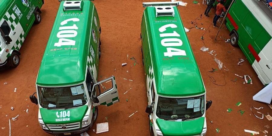 New 104 ambulances stickering work is going at IGMC stadium in Vijayawada on Monday.