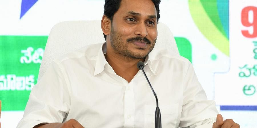 Andhra Pradesh CM YS Jagan Mohan Reddy during Mana Palana - Mee Suchana on industrial sector at CM's camp office in Tadepalli on Thursday.