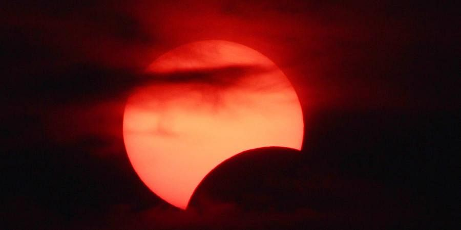 A view of partial solar eclipse seen from Bhubaneswar. (Photo| EPS