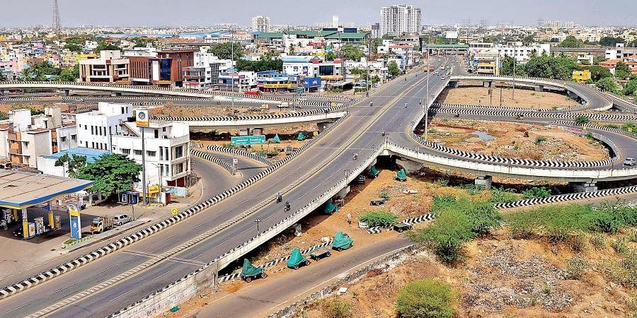 The ever busy Koyambedu flyover wears a deserted on the first day of intense lockdown on Friday