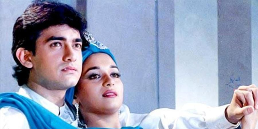 A still from Aamir Khan and Madhuri Dixit-starerr 'Dil'.