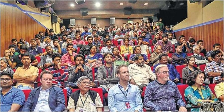 Audience watching a movie at Suchitra Cinema and Cultural Academy