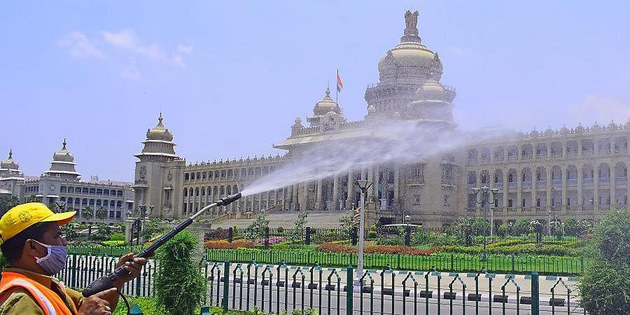 Sanitising efforts at Bengaluru's Vidhan Soudha