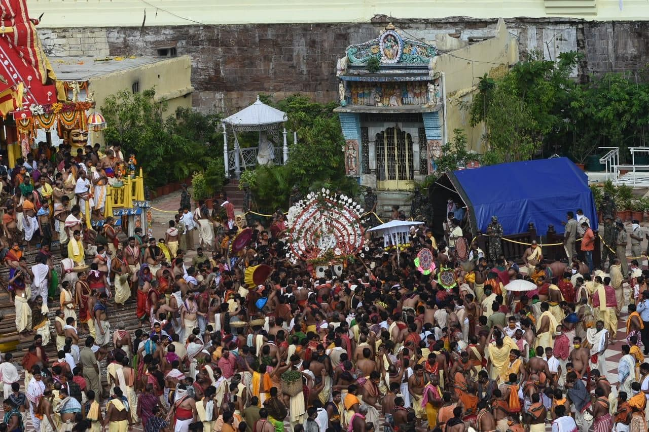 The rituals involve three chariots -- Lord Jagannath's Nandighosh, Lord Balabhadra's Taladwaja and Devi Subhadra's Darpadalan. The Apex Court has stated 'each chariot would be pulled by not more than 500 people and all of them have to test negative for COVID-19.'