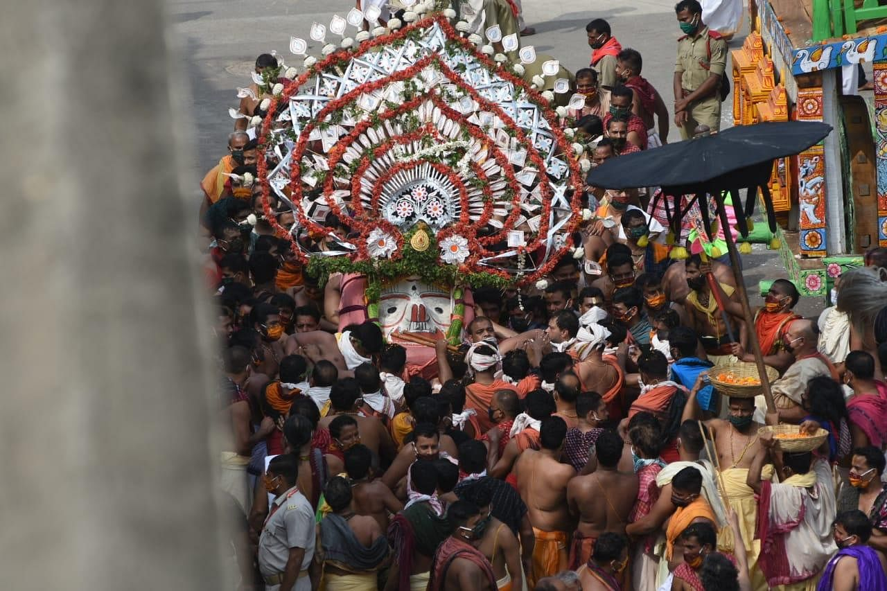 Lord Jagannath was ushered out of the temple in Pahandi Bije, Puri on Tuesday morning marking the beginning of the prestigious Rath Yatra.