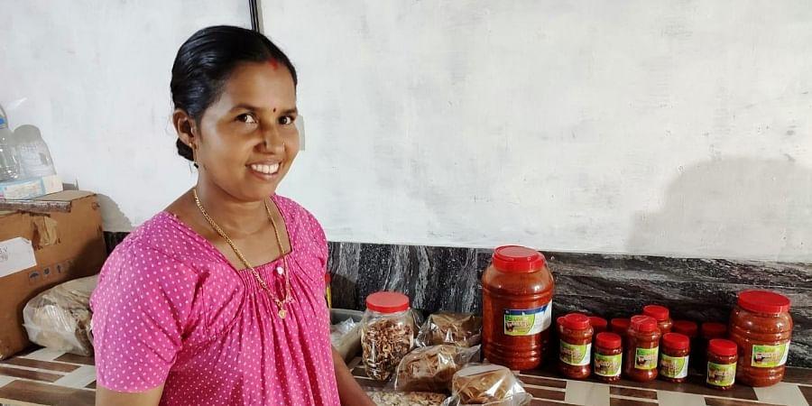 Kusumavathy K at her workplace at Cherupanathady in Panathady panchayat