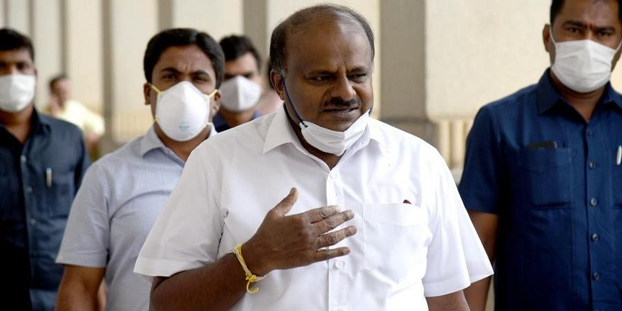 Former Chief Minister HD Kumaraswamy arrives for a press conference at Vidhan Soudha, Bengaluru
