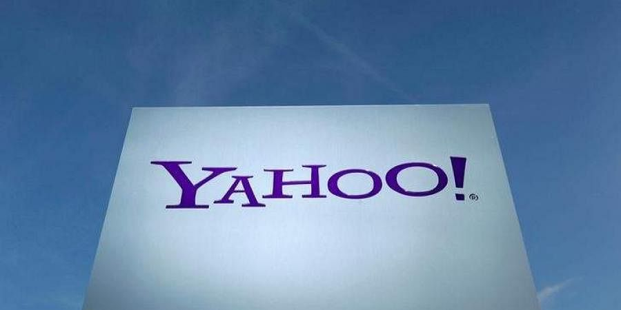 A Yahoo logo is pictured in front of a building in Rolle, Switzerland