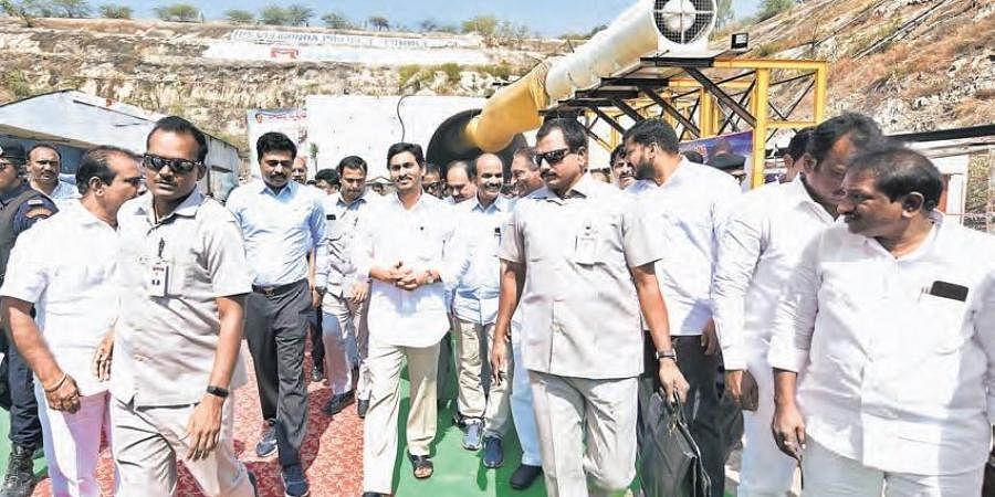 CM YS Jagan Mohan Redy at Veligonda project in Prakasam district.