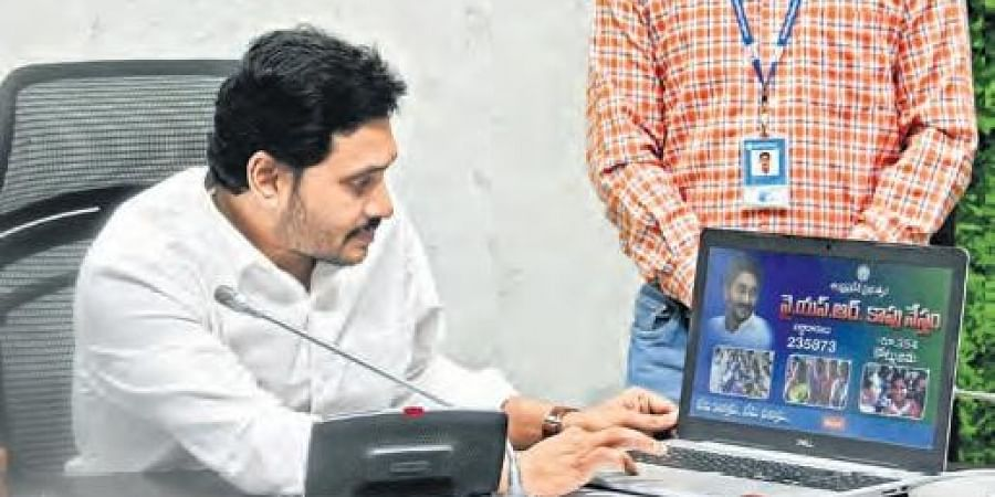 Chief Minister YS Jagan Mohan Reddy during the launch of YSR Kapu Nestham at CM's camp office in Tadepalli.