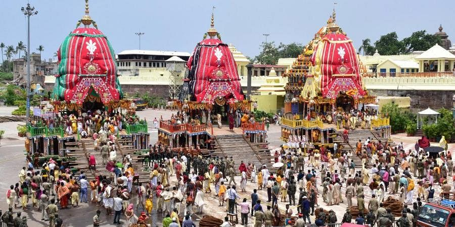 Chariots of Lord Balabhadra, Subhadra and Jagannath before a procession towards the Gundicha temple during the Rath Yatra festival, amid the ongoing coronavirus pandemic, in Puri.