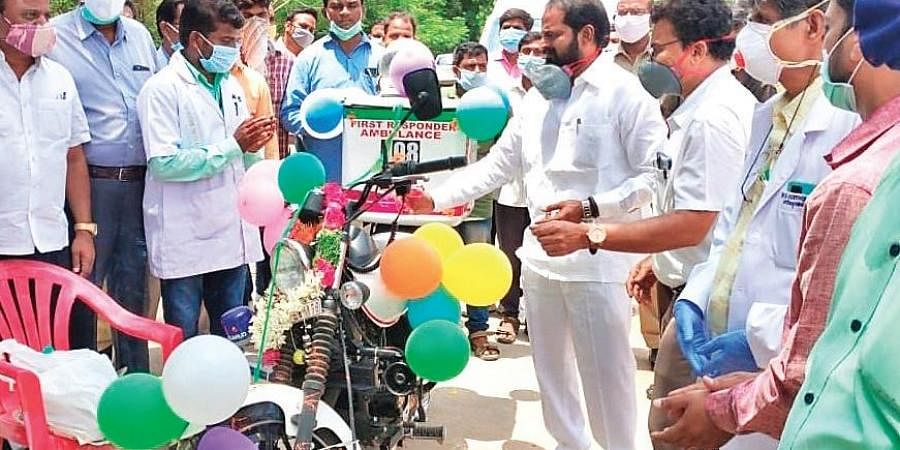 Excise Minister V Srinivas Goud launches a first-responder 108 ambulance at Mahbubnagar District Government Hospital in the district.