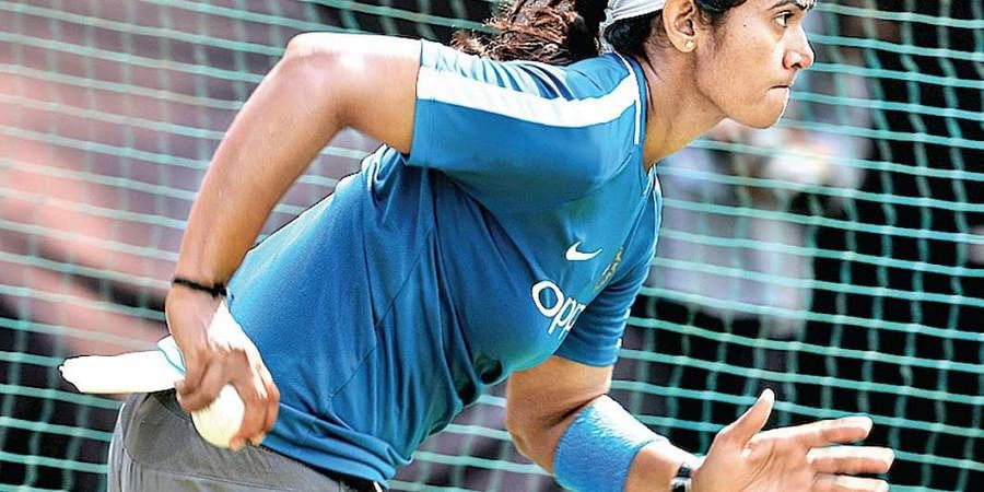 Shikha Pandey during a women's practice session