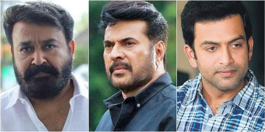 (From left) Malayalam actors Mohanlal, Mammootty and Prithviraj