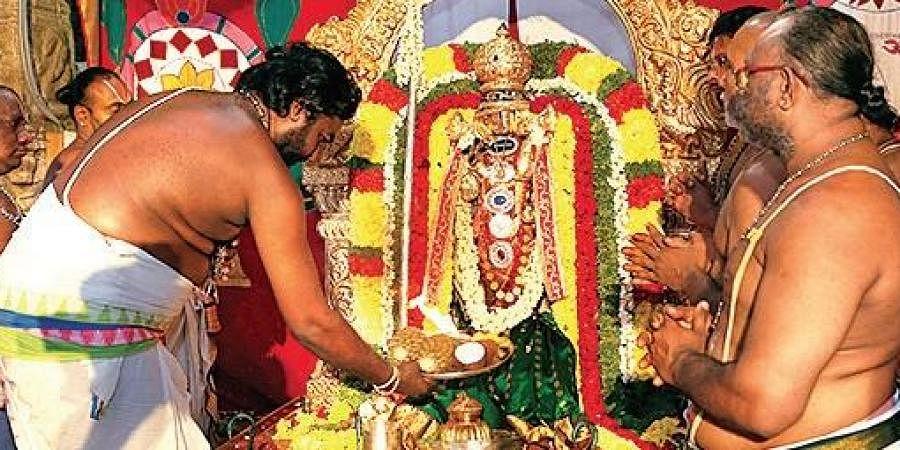 Preists performing puja to Sri Kalyana Venkateswara Swamy at Srinivasa Mangapuram in Tirupati on Sunday | EXPRESS