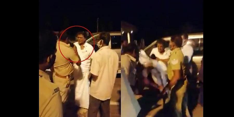 Former TN MP K Arjunan assaults cop at toll plaza on the Salem-Bengaluru National Highway near Karuppur in Salem.