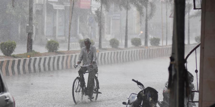 A cyclist passing through the rain at Eluru road in Vijayawada on Tuesday.