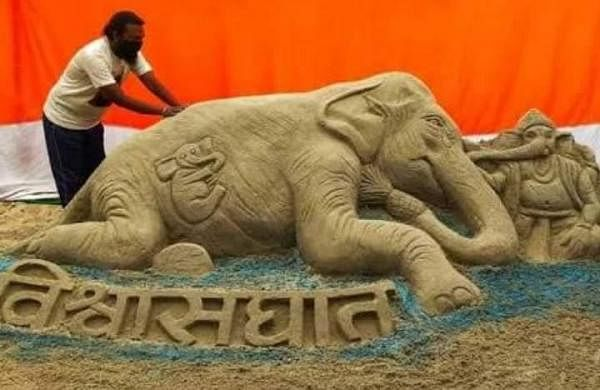 Bihar's famous sand artist seeks justice for elephant killed in Kerala