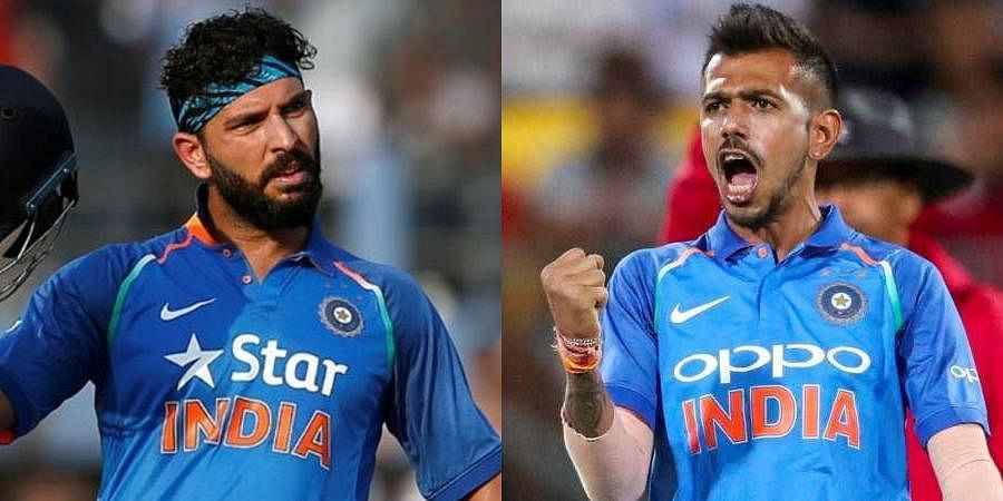Former Indian cricketer Yuvraj Singh (L) and spinner Yuzvendra Chahal