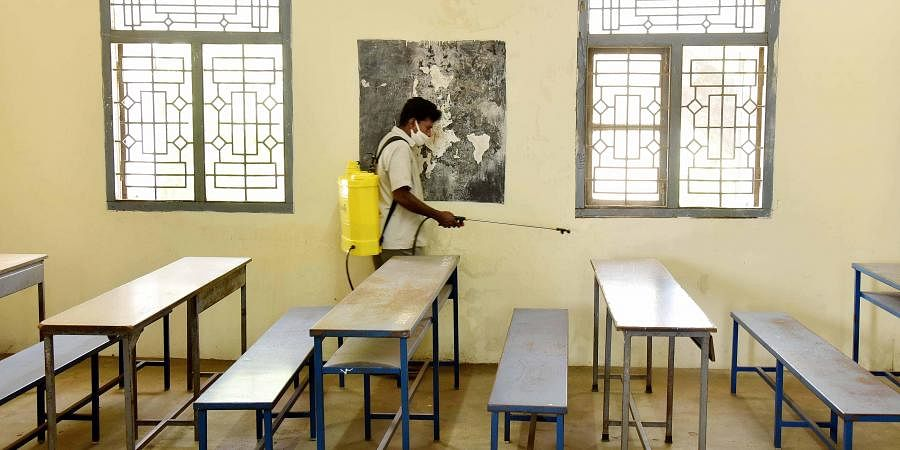 Classrooms being disinfected ahead of public exams at Presidency Girls Higher Secondary School, Egmore in Chennai.