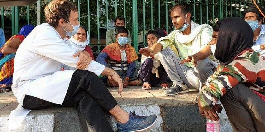 Congress leader Rahul Gandhi interacted with migrant labourers hit by the coronavirus lockdown last month. (Photo| ANI)