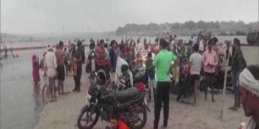 Devotees gathered at the banks of Triveni Sangam at Prayagraj on Saturday morning