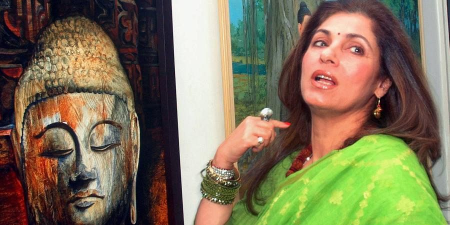 Bollywood actress Dimple Kapadia during the inauguration of Aura Art exhibition at Nehru Center in Mumbai.