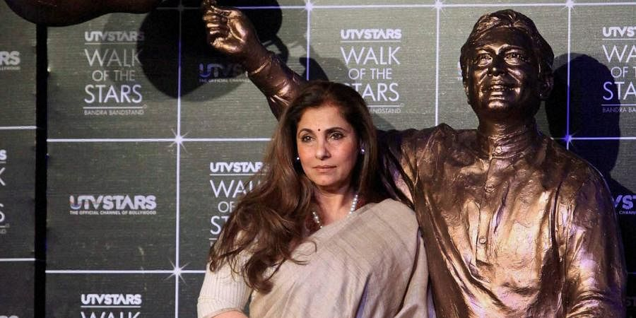 Bollywood actress Dimple Kapadia at the unveiling of the statue of legendary actor Rajesh Khanna at Bandra Bandstand.