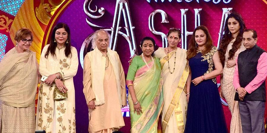 Bollywood actors Zeenat Aman, Dimple Kapadia, Helen, Jaya Pradha, Tabu, Singer Asha Bhosle and Pandit Jasraj, during the musical concert organized on the occasion of Asha Bhosle's 83rd birthday in Mumbai.