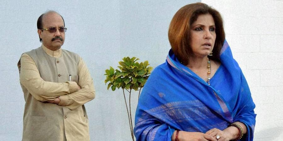 Bollywood actress Dimple Kapadia and politician Amar Singh during shooting of a Malayalam movie Bombay Mittai in Kochi.