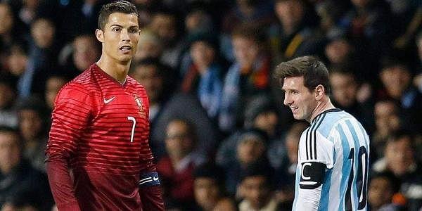 Portugal striker Cristiano Ronaldo (L) and Argentina striker Lionel Messi