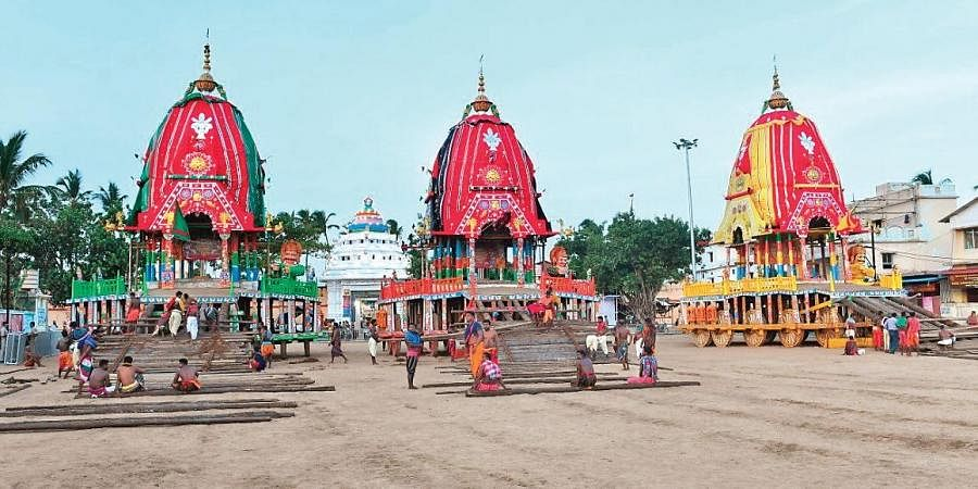 Chariots of the Trinity at Nakachanadwar in front of Gundicha temple on Tuesday