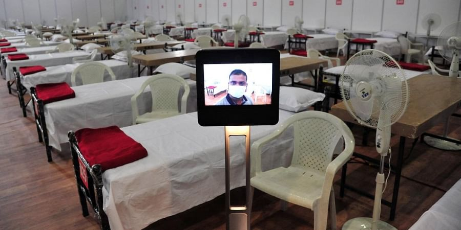 Facility for COVID patients treatment centre is all set at Bengaluru International Exhibition Centre (BIEC) in Bengaluru on Thursday